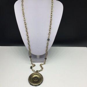Chico's Gold Tone Chain Gray Rhinestone Necklace